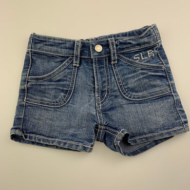 Girls Baby Shelter, blue denim shorts, adjustable, FUC, size 1-2,