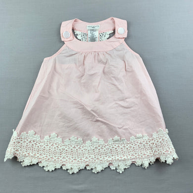 Girls Max Studio, pink lightweight cotton top, lace trim, FUC, size 2,