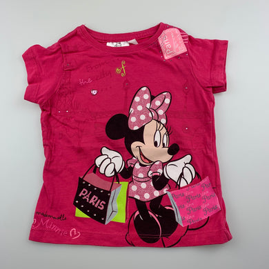 Girls Disney, Minnie Mouse pink cotton t-shirt / top, GUC, size 2,