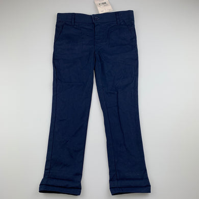 Boys B Collection, navy stretch cotton chino pants, adjustable, Inside leg: 45cm, NEW, size 4,
