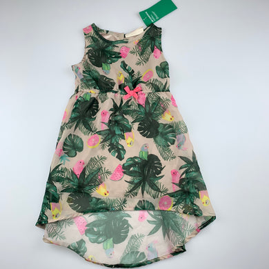 Girls H&M, lined recycled polyester dress, birds, NEW, size 2, L: 46cm at front