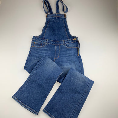 Girls Zara, stretch denim overalls / dungarees, Inside leg: 61cm, wear on cuffs, FUC, size 11-12,