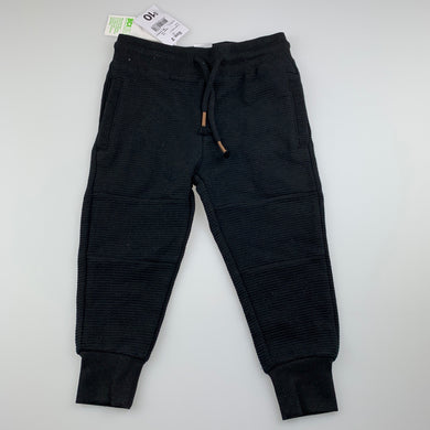 Boys Anko, black casual pants, elasticated, Inside leg: 30.5cm, NEW, size 2,
