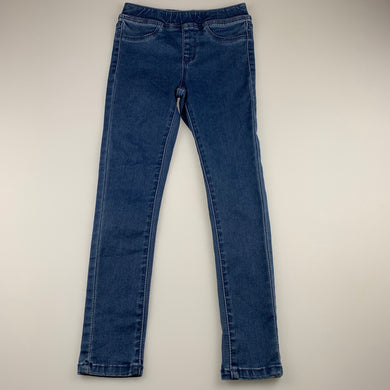 Girls 1964 Denim Co, blue stretch denim leggings / jeggings, elasticated, Inside leg: 53cm, EUC, size 8,