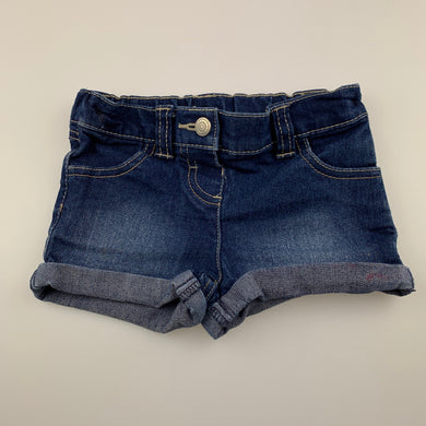 Girls H&T, blue stretch denim shorts, adjustable, FUC, size 2,
