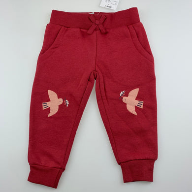 Girls Anko, red fleece lined track / sweat pants, NEW, size 1,