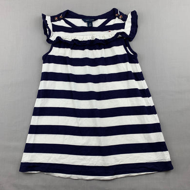 Girls Tommy Hilfiger, navy & white stretchy casual dress, EUC, size 2, L: 46cm
