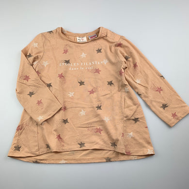 Girls Zara, long sleeve t-shirt / top, shooting stars, FUC, size 2-3,