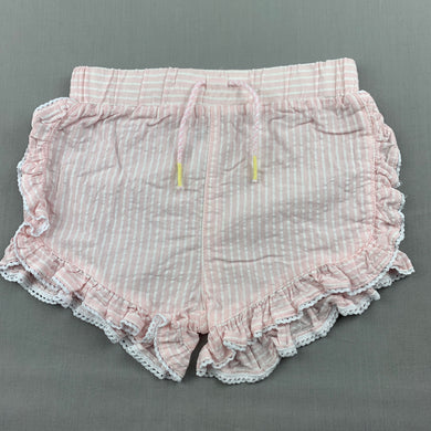 Girls Anko, lightweight pink & white cotton shorts, elasticated, EUC, size 1,