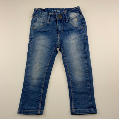 Girls Tumble 'n Dry, blue stretch denim jeans, adjustable, Inside leg: 31cm, GUC, size 1-2,