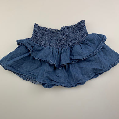 Girls Anko, blue cotton skirt, elasticated, GUC, size 1,