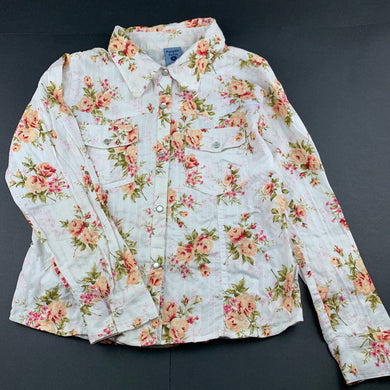 Girls Pumpkin Patch, floral cotton long sleeve shirt, poppers, FUC, size 11,