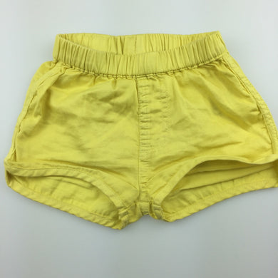 Girls Seed, yellow lightweight cotton shorts, elasticated, GUC, size 00