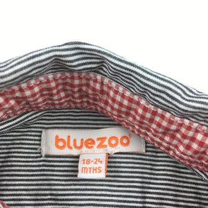Boys Bluezoo, long sleeve cotton shirt, black & white stripe, GUC, size 2