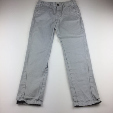 Boys F&F, grey cotton chino pants, adjustable, EUC, size 7