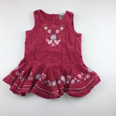 Girls Baby Baby, cute cotton corduroy embroidered party dress, GUC, size 0