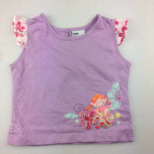 Girls Now, purple cotton flutter sleeve t-shirt / top, GUC, size 0