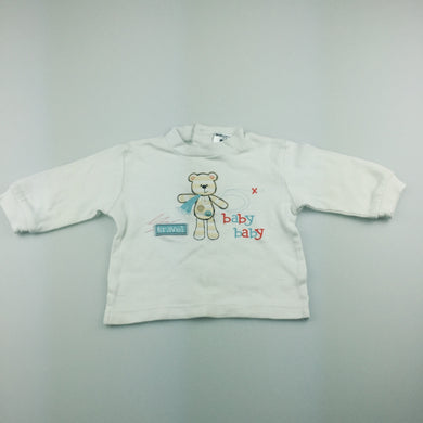 Boys Baby Baby, white cotton long sleeve t-shirt / top, GUC, size 000