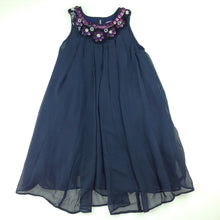 Load image into Gallery viewer, Girls Fresh Baked, navy swing party dress, sequins & beads, EUC, size 4