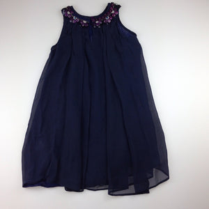 Girls Fresh Baked, navy swing party dress, sequins & beads, EUC, size 4