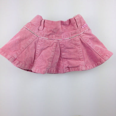 Girls Minihaha, pink velvet skirt, adjustable waist, built in nappy cover, GUC, size 00