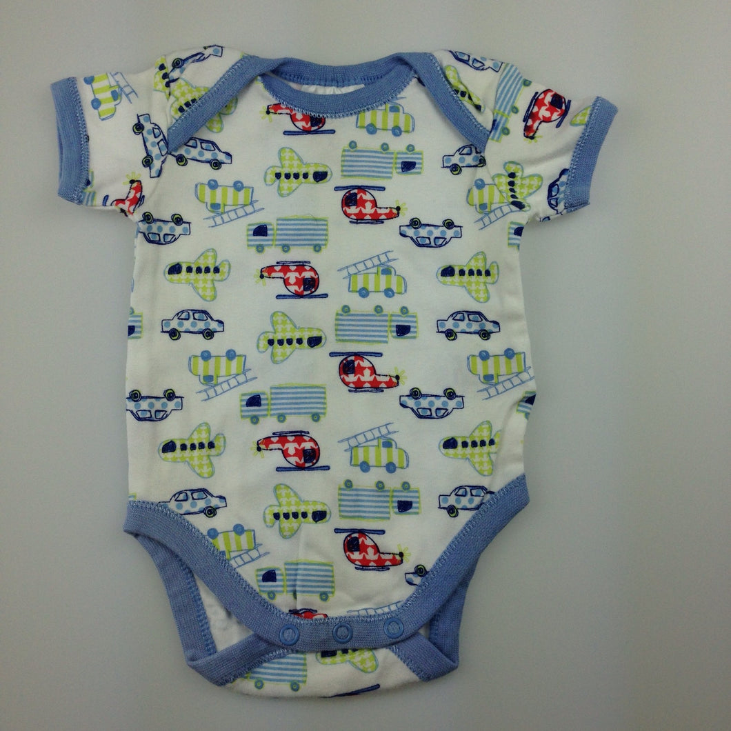 Boys Baby Club, cotton short sleeve bodysuit, helicopters, trucks, planes, EUC, size 000