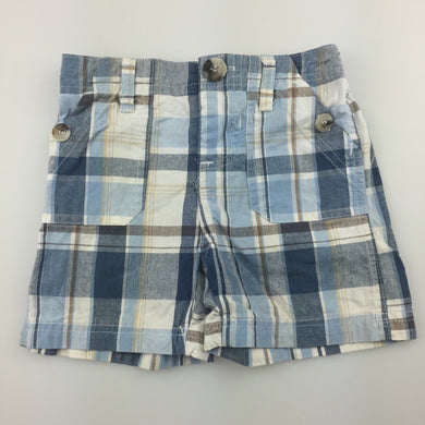 Boys Baby Biz, blue check cotton shorts, elasticated, GUC, size 0