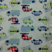 Load image into Gallery viewer, Boys Baby Club, cotton short sleeve bodysuit, helicopters, trucks, planes, EUC, size 000