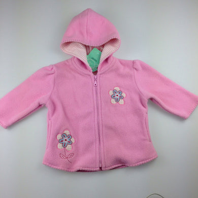 Girls Adams, pink polar fleece zip up hooded jacket, 6-9 months, NEW, size 0