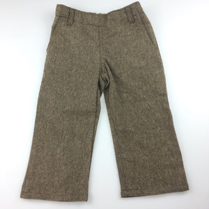 Girls Oobi, brown tweed pants, adjustable waist, side zip, GUC, size 1