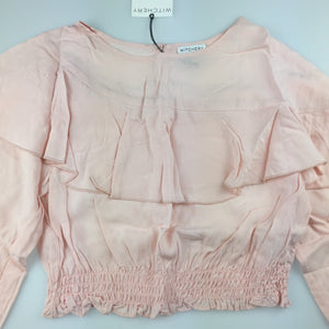 Girls Witchery, lightweight long sleeve flounce top / blouse, NEW, size 6