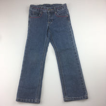 Load image into Gallery viewer, Girls Pumpkin Patch, blue denim jeans, adjustable waist, embroidered pockets, EUC, size 4