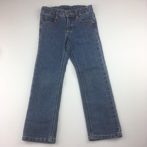 Girls Pumpkin Patch, blue denim jeans, adjustable waist, embroidered pockets, EUC, size 4