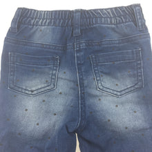 Load image into Gallery viewer, Girls Tiny Little Wonders, blue stretch denim jeans, black spots, elasticated waist, GUC, size 1