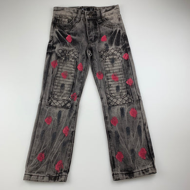 Unisex 7 Souls, trendy New York slim fit jeans, paint distressed, W: 54cm, Inside leg: 47cm, NEW, size 6
