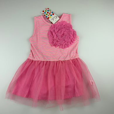 Girls Oobi, gorgeous cotton lined pink tutu party dress, NEW, size 1