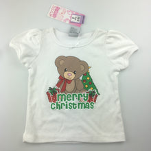 Load image into Gallery viewer, Girls Snooze Zone, white pyjama top / t-shirt, Merry Christmas, NEW, size 0