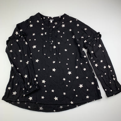 Girls Clothing & Co, black lightweight long sleeve top, stars, GUC, size 12