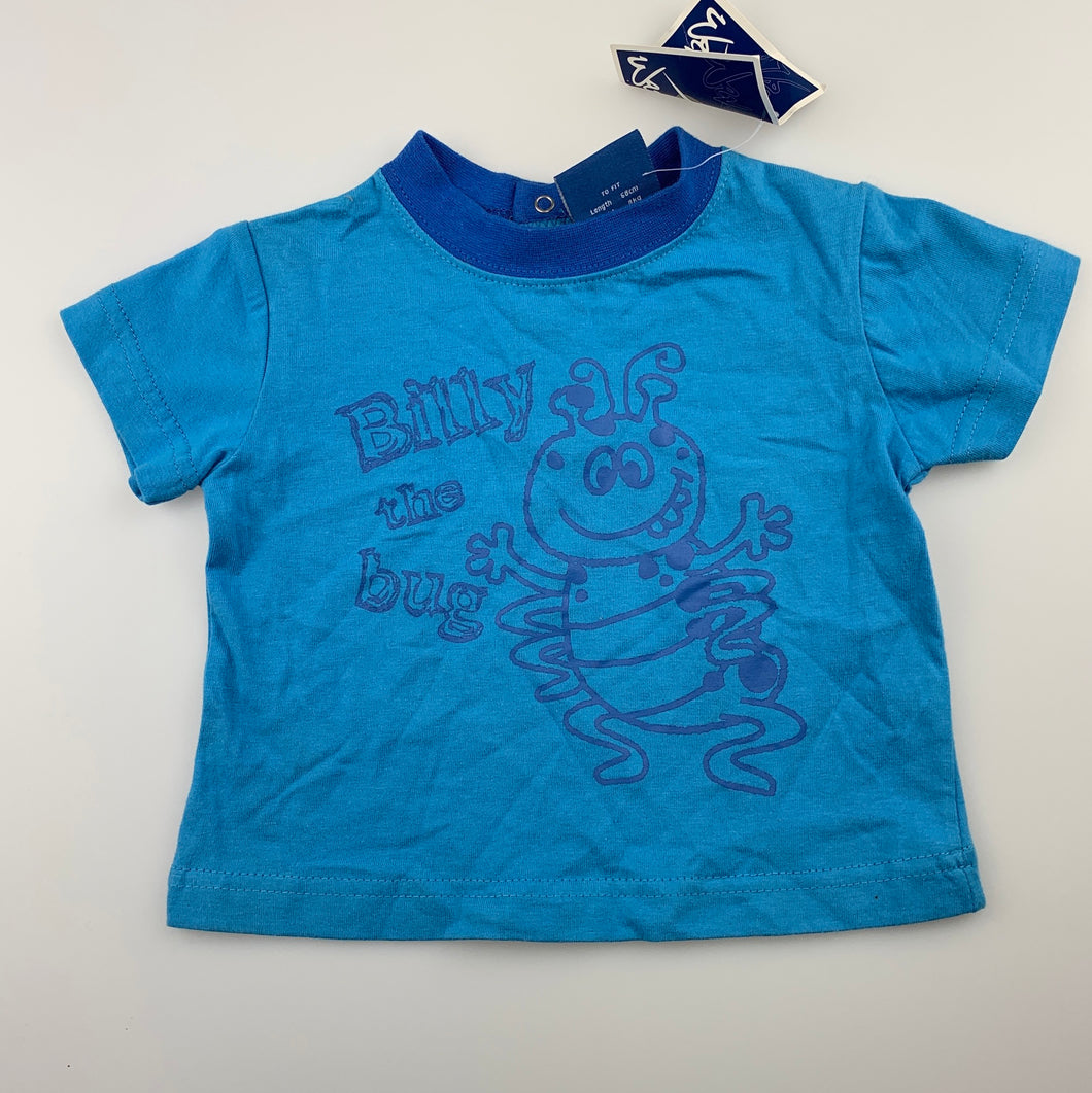 Boys Wave Zone, blue cotton t-shirt / tee / top, NEW, size 00