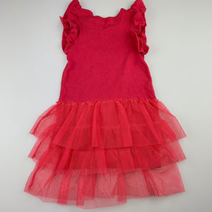 Girls Cotton On, pink cotton dress, tulle skirt, FUC, size 1
