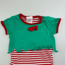 Load image into Gallery viewer, Unisex Sprout, Chrsitmas Elf cotton romper, GUC, size 00