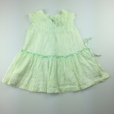 Girls Fred Bare, lightweight green cotton summer / party dress, GUC, size 1