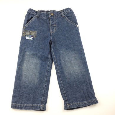 Boys Sprout, blue denim jeans, elasticated waist, GUC, size 2