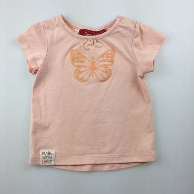 Girls Sprout, short sleeve t-shirt / top, glitter butterfly, GUC, size 000