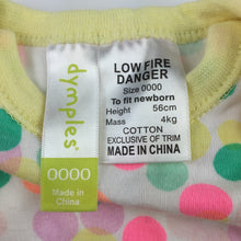 Load image into Gallery viewer, Girls Dymples, cotton romper / playsuit, GUC, size 0000