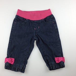 Girls Gymboree, navy denim jeans, elasticated waist, GUC, size 00
