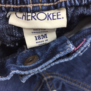 Girls Cherokee, dark denim jeans, elasticated waist, FUC, size 18 months