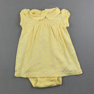 Girls Baby B'Gosh, yellow soft cotton romper dress, EUC, size 3 months