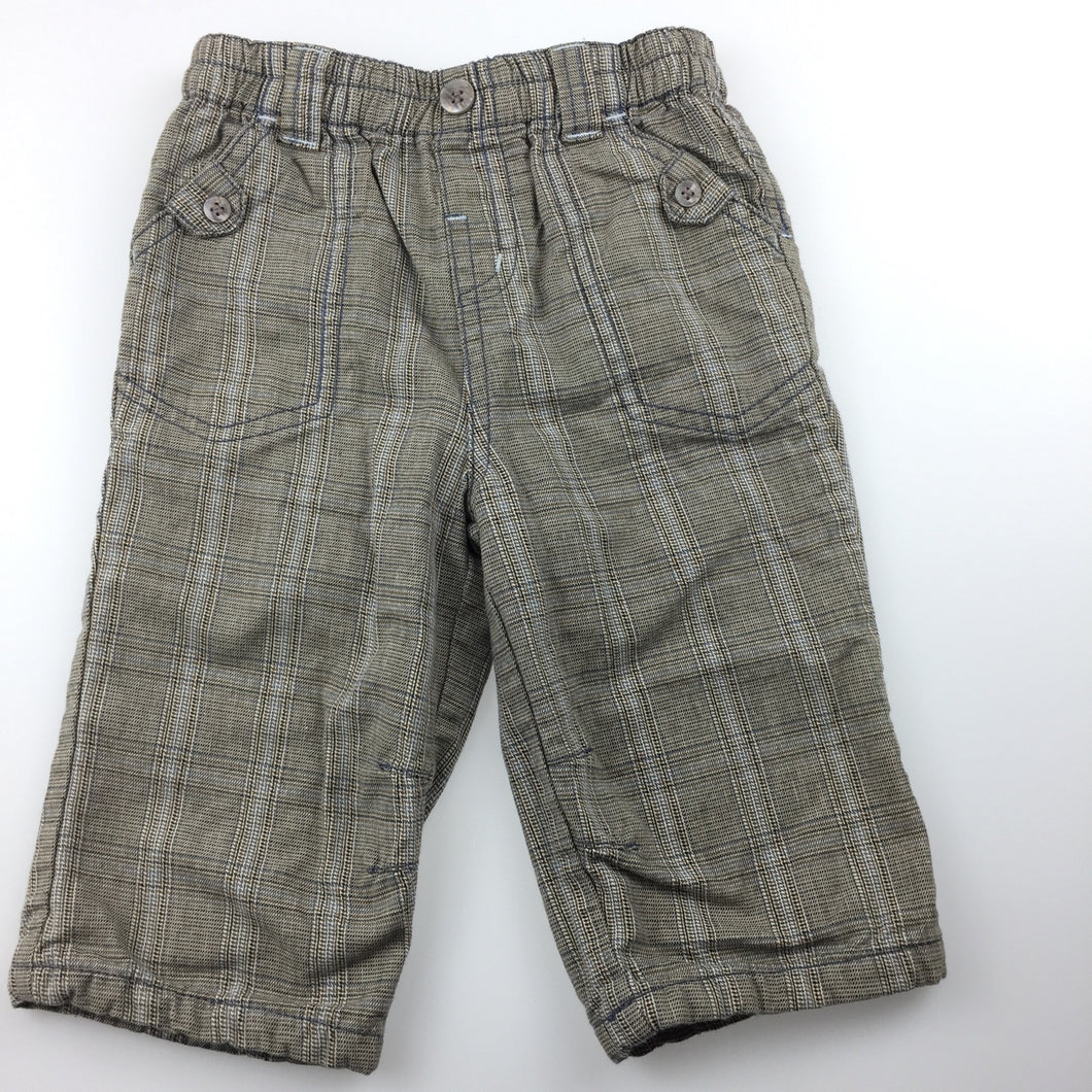 Boys Next, cotton lined check pants, elasticated waist, GUC, size 6-9 months