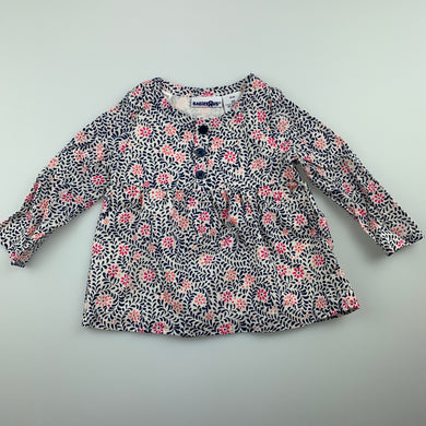 Girls Babies R Us, pretty floral lined cotton top, EUC, size 6 months